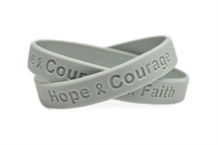 """Hope Courage Faith""  Grey Rubber Bracelet Wristband - Youth 7"""