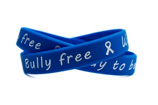 """Bully free - Way to be!"" Blue and White Wristband - Adult 8"""