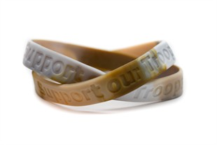 """Support our Troops"" Military Match Rubber Wristband - Camouflage  - XL 9"""