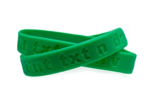 Don't Text and Drive  dnt txt n drv  Bracelet Wristband - Adult 8""