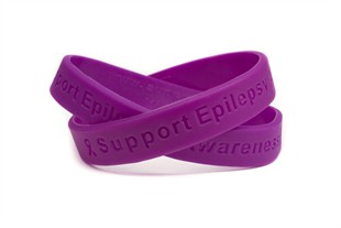 Support Epilepsy Awareness Purple Wristband - Adult 8""