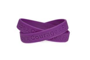"""Hope Courage Faith"" Purple Rubber Bracelet Wristband - XL 9"""