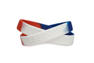 """FREEDOM"" Rubber Bracelet Wristband – Red, White & Blue – Adult 8"""