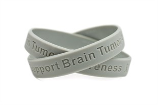 Support Brain Tumor Awareness grey wristband - Adult 8""