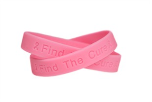 """""""Find the Cure"""" Pink Rubber Bracelet Wristband - Adult 8"""""""