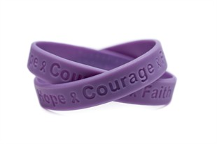 Hope Courage Faith Lavender Rubber Wristband - Adult 8""