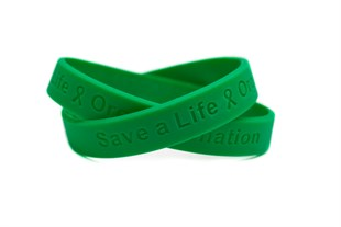 Save a Life - Organ Donation green wristband - Adult 8""