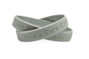 Find a Cure - Parkinson's Disease grey wristband - Adult 8""