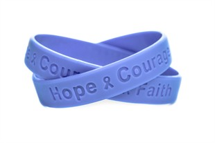 Periwinkle Hope Courage Faith Rubber Wristband - Adult 8""