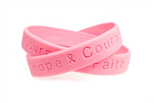 """Hope Courage Faith""  Pink Rubber Bracelet Wristband - Youth 7"""