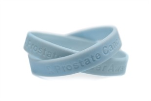 """Prostate Cancer Awareness"" Light Blue Rubber Bracelet Wristband - Adult 8"""
