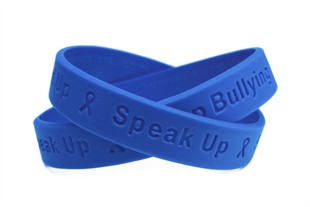 """Stand Up - Speak Up - Stop Bullying""  Blue Wristband - Youth 7"""